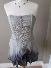 NEXT Ladies Grey Cotton Mix Strapless Boned Ruched Top Size 10 Lined VGC