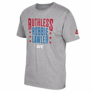 "Robbie Lawler UFC Reebok Grey Fighter Tee ""Ruthless"" Graphic Print T-Shirt"