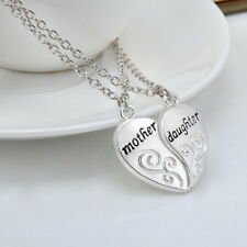Women's Silver Mother & Daughter Family Love Necklace Pendant Mothers Day Gifts