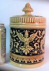 Vtg GERMAN Pottery HUMIDOR Jar Pipe Tobacco VALKYRIE DRAGONS Serpents