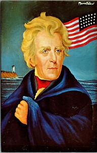 Vtg 1960's President Andrew Jackson Painting Artist Signed Morris Katz Postcard