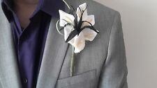 Gents Black & White Buttonhole