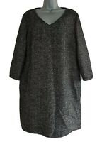 HOBBS NW3 Women's Black/Grey Herringbone Wool Mix Tunic Dress. Size UK 16.