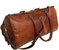 Leather Travel Duffle Bag Gym Overnight Weekend Luggage Carry on Airplane