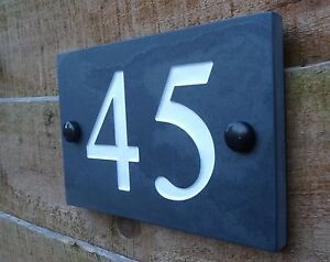 High Quality Deep Engraving Honed Natural Slate House Number Sign Plaque 1-9999