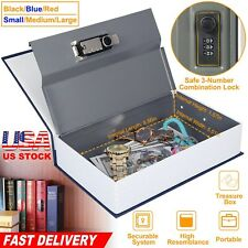 Portable Book Safe Dictionary Secret Lock Security Money Cash Home Storage Box