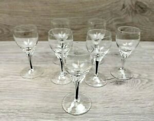 7 x Small Vintage Crystal Glass Black in Faceted Stem Sherry / Liquer Glasses