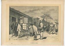 ANTIQUE STREET CITY OF PEKING BEIJING CHINA CHINESE MEN COSTUME FARMER ART PRINT