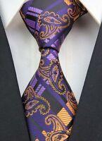 New GZ026 Black Orange Paisley Classic JACQUARD Woven 100%Silk Mens Tie Necktie-