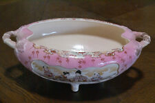 Antique Nippon Hand-Painted Bowl Ceramic Pink Footed Pottery Japanese Dish Plate