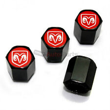 4 Dodge Ram Red Logo Black ABS Tire/Wheel Stem Air Valve Car Truck CAPS Covers