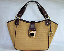 MICHAEL KORS CHARLTON LEATHER TRIMMED SOFT STRAW TOTE - MSRP $328.00 -NWT