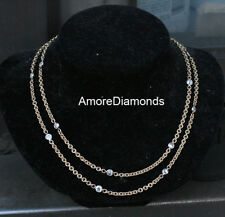 """2.3 ct F VS round diamonds by the yard necklace yellow gold 24"""" 2mm wide chain"""