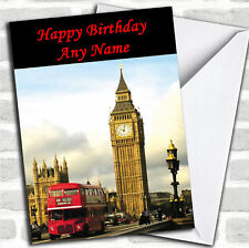 London Big Ben Red Bus Birthday Customised Card