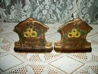ANTIQUE IRON FLOWER BASKET BOOKENDS ART DECO ERA ORIGINAL PAINT COTTAGE 1920's