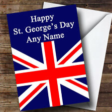 St George's Day Union Jack British Flag Personalised Greetings Card