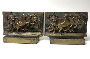 "Pompeian Bronze Roman Horse Chariot Races Bookends  ""Glory"" Peter Manfredi"