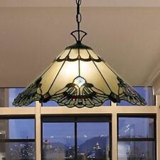 Pendant Lamp Traditional Tiffany Style Off White Brown Stained Glass Shade Metal