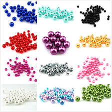 15 Colors !! No Hole Imitation Pearl Plastic Beads Fit 8mm Cage Locket Beads