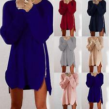 Damen Sweatshirt Pulli Pullover Cardigan Sweater Strickpulli Longshirt Minikleid