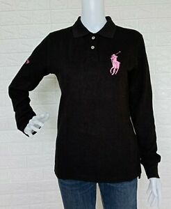 Ralph Lauren Black Label Pink Pony Long Sleeve Polo Shirt size Large made in USA