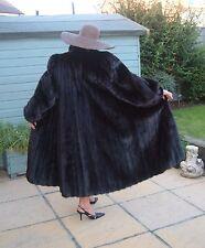 BLACK FEMALE MINK REAL FUR COAT ~ New Cost @ £15,000 ~ Modern/MINT ~ LARGE SIZE