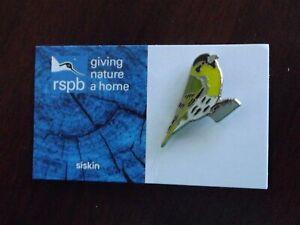 RSPB GNaH  siskin metal Pin Badge on Blue  FR card