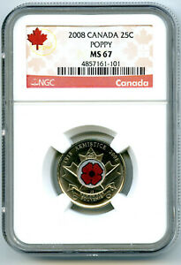 2008 CANADA 25 CENT NGC MS67 UNCIRCULATED POPPY QUARTER COLORIZED RARE LOW POP