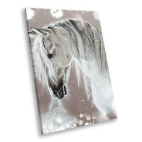 Animal Portrait Photo Canvas Picture Prints Wall Art Grey Watercolour Horse