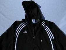 Vintage Adidas Solid Black Full Zip Athletic Hoodie sz L