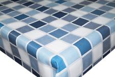 Linen Checkered Blue & Navy PVC Tablecloth Vinyl Oilcloth Kitchen Dining Table