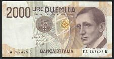 1990 2000 Lire Italy Old Vintage Paper Money Banknote Currency Bill Note VF