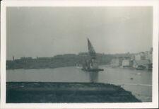 Photograph Malta 1953 Valletta Harbour Steam Crane 3.25 x 2.25 inch