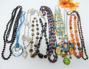 STONE, GLASS & ABALONE BEAD NECKLACE LOT - VINTAGE TO NOW