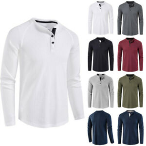 Mens Henley Neck Long Sleeve T-shirt Casual Slim Fit Plain Button Pullover Tunic