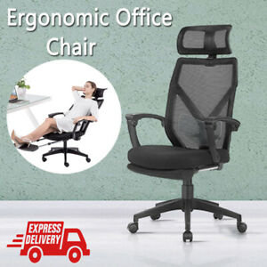 Ergonomic Office Computer Chair High-Back w/ Lumbar Support Headrest Footrest UK