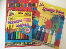 Mon premier apprentissage à Couleur Livre de coloriage parfumée stylos & Éponge Peinture Peintures
