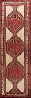 Vintage Geometric Red/Beige Meshkin 10 ft Hand-knotted Runner Rug Hallway 3'x10'