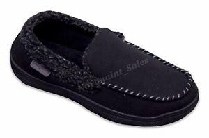 Men's Dearfoams Memory Foam Moccasin Slippers Black Medium UK 8-9 NEW