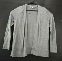 Ann Taylor Loft Women's Sz Large Gray Wool Blend Long Sleeve Open Front Cardigan
