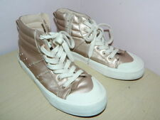 Zara girls rose gold high top lace up zip up shoes uk 1 eur 33