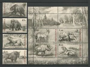 Moldova 2010 Animals Extinct Fauna 4 MNH stamps + Block