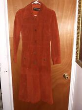 Womans Vintage Brown Leather Trench Coat Genuine Leather Made in Uruguay