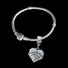 Confirmation bracelet  european style Crystal Heart Charm  Confirmation gift