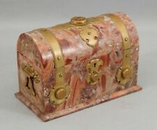 Large Antique Aesthetic Period Pink Marble Stone Gilded Bronze Letter Holder Box