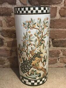 "Vintage Ceramic Umbrella Stand Large Cylinder Vase Chinese Birds VGC 18.5"""