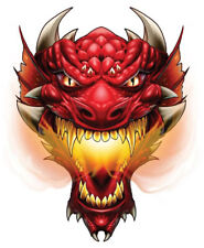 """""""Dragon"""" Temporary Tattoo, Red Fire Breathing Dragon Head w/ Horns, USA Made"""