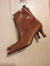 Enzo Angiolini Women's Brown Leather Size 8.5 Tan Ankle Boots Straps Zipper