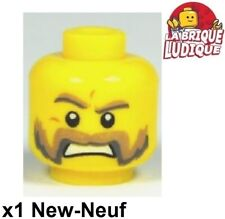 Lego tête homme moustache pour minifigure nouveau