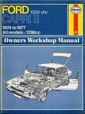 FORD CAPRI II 1300 OHV 1974-1977 Haynes Proprietari Manuale di Officina